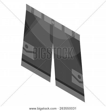 Black Shorts Icon. Isometric Of Black Shorts Vector Icon For Web Design Isolated On White Background