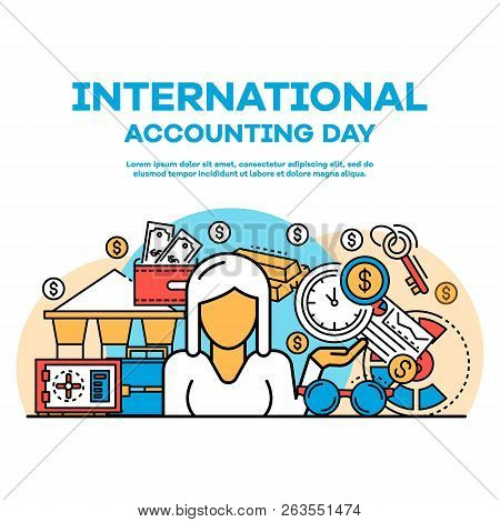 Accounting Day Banner. Outline Illustration Of Accounting Day Vector Banner For Web Design