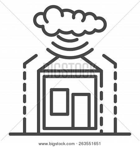 Smart Weather Warning Icon. Outline Smart Weather Warning Vector Icon For Web Design Isolated On Whi