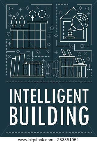 Modern Intelligent Building Banner. Outline Illustration Of Modern Intelligent Building Vector Banne