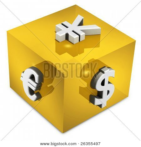 Euro, Dollar, Yen,  Symbols in yellow cub