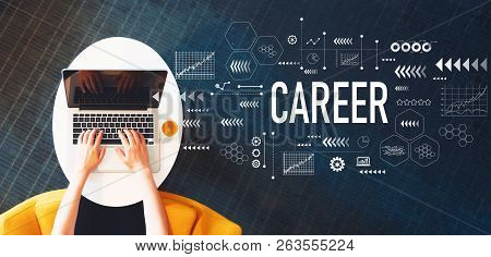 Career With Person Using A Laptop On A White Table
