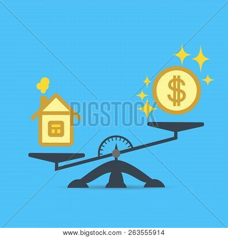 A Dollar Coin And A House On The Scales. Money And House Scales Icon. Real Estate, Rent, Expenses, L