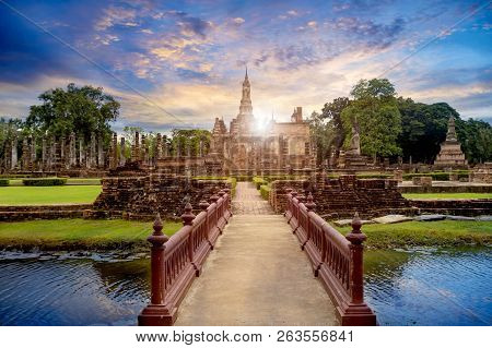 Buddha Statue at Wat Mahathat in Sukhothai Historical Park,a UNESCO World Heritage Site in Thailand poster