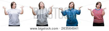 Collage of down sydrome woman over isolated background clueless and confused expression with arms and hands raised. Doubt concept.