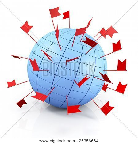 Abstract globe with red flags