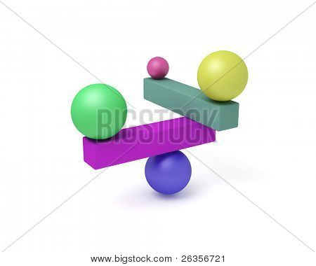 abstract 3d construction - balance
