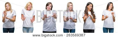 Collage of group of women wearing white t-shirt over isolated background disgusted expression, displeased and fearful doing disgust face because aversion reaction. With hands raised. Annoying concept.