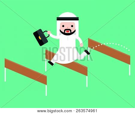 Arab Business Man Jump Over Hurdle, Flat Design Break Trough Obstacle