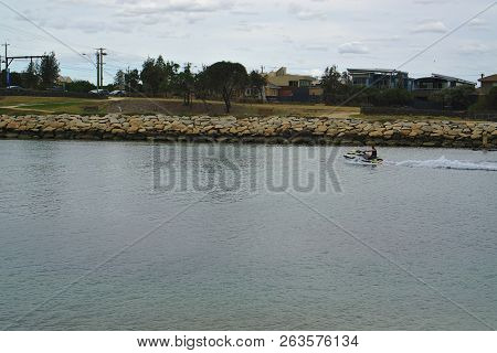 Bonbeach, Vic / Australia - Oct 15 2018: Jetski On Patterson River