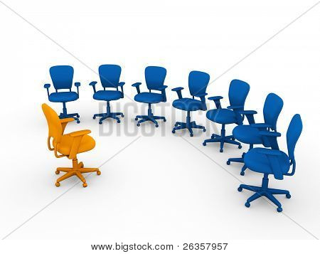 armchair boss and subordinates, planning session in the office