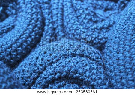 Trendy Nebulas Blue Color Woolen Knitted Fabric Close-up, Texture, Background