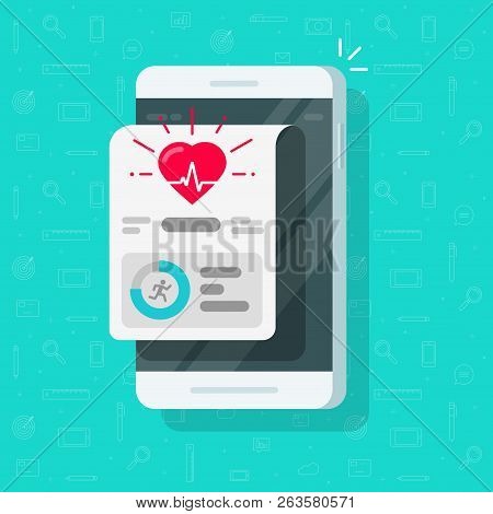 Health Or Fitness Tracker App On Mobile Phone Vector, Flat Cartoon Smartphone Steps Or Run Tracking
