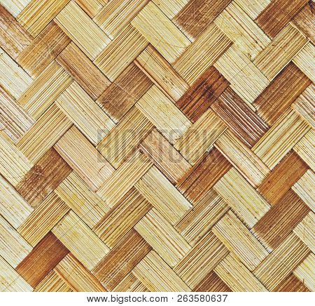 Traditional Handcraft Weave Thai Style Pattern Nature Background Texture Wicker Surface For Furnitur