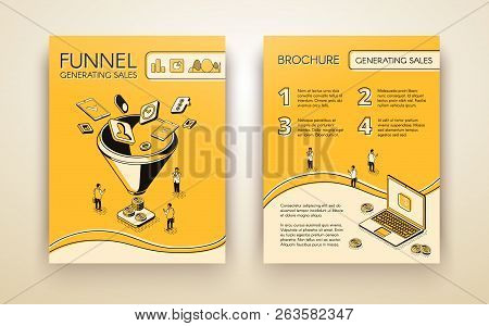 Funnel Generating Sales, Business Marketing Brochure, Poster Or Booklet Isometric Line Art Vector Te