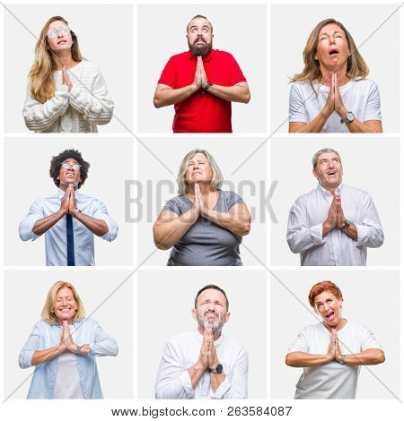 Collage of group of young, middle age and senior people over isolated background begging and praying with hands together with hope expression on face very emotional and worried. Asking for forgivenes