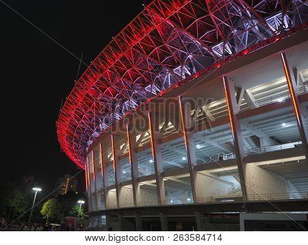 Jakarta, Indonesia - October 12, 2018: Colorful Lights Illuminate The Facade Of Gelora Bung Karno (g