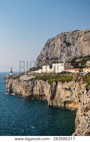 Gibraltar, United Kingdom, 2nd October 2018:-gibraltar Crematorium With Europa Point Lighthouse In T