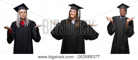 Collage of group of young student people wearing univerty graduated uniform over isolated background clueless and confused expression with arms and hands raised. Doubt concept.