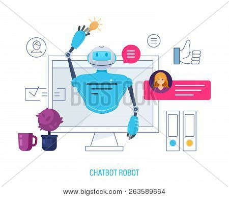 Chatbot Robot, Artificial Intelligence. User Chatting With Chatbot In Application.