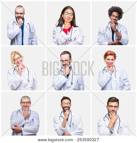 Collage of group of doctor people wearing stethoscope over isolated background looking confident at the camera with smile with crossed arms and hand raised on chin. Thinking positive.