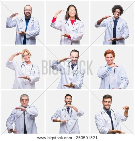 Collage of group of doctor people wearing stethoscope over isolated background gesturing with hands showing big and large size sign, measure symbol. Smiling looking at the camera. Measuring concept.
