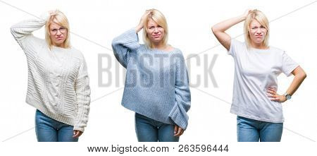 Collage of beautiful blonde woman wearing winter sweater over isolated background confuse and wonder about question. Uncertain with doubt, thinking with hand on head. Pensive concept.