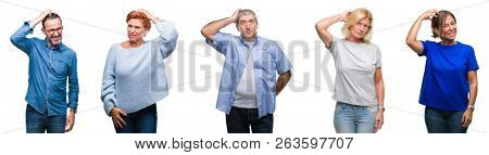 Collage of group of middle age and senior people over isolated background confuse and wonder about question. Uncertain with doubt, thinking with hand on head. Pensive concept.