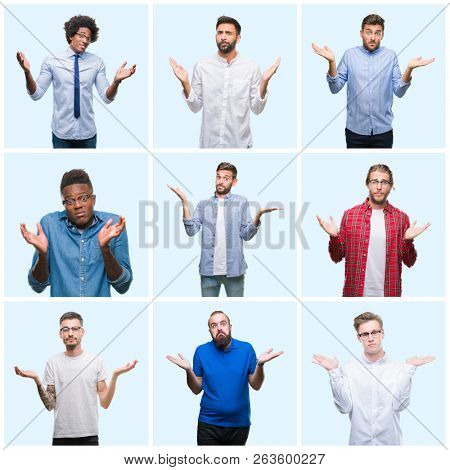 Collage of group of business and casual men over isolated background clueless and confused expression with arms and hands raised. Doubt concept.