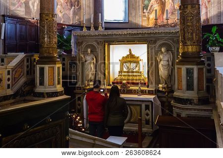 Rome, Italy - March 21, 2018: Reliquary Containing The Chains Of St Peter In The Basilica San Pietro