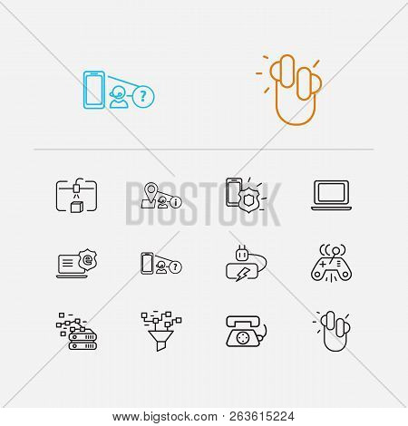 Electronics Icons Set. Steamroller And Electronics Icons With Joystick, Internet Protection And Find