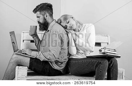 Increase Your Productivity Using Modern Technology. Technical Progress. Woman Sleep Retro Typewriter