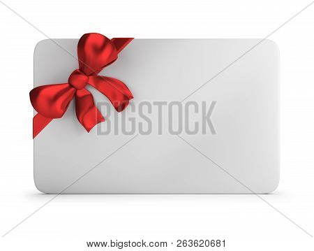 3d Gift Card With Red Silk Bow. 3d Image. White Background.