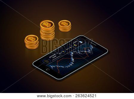 Cryptocurrency Stock Market Online. Smartphone With Bitcoin Cash Chart On Screen And Piles Of Gold B
