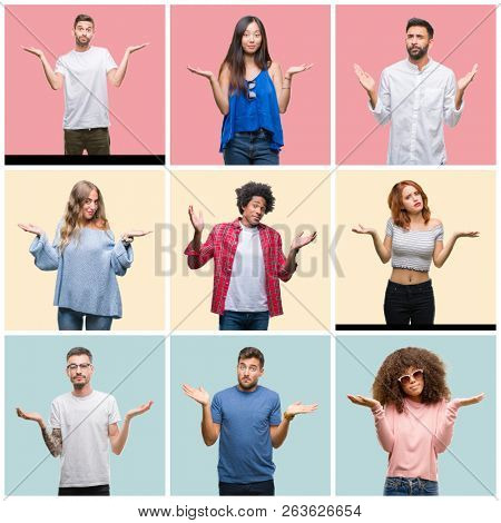 Collage of group of young people woman and men over colorful isolated background clueless and confused expression with arms and hands raised. Doubt concept.