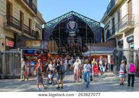 Barcelona, Spain - September 13, 2018: Unknown People Visit Famous Boqueria Market On La Rambla, Bar