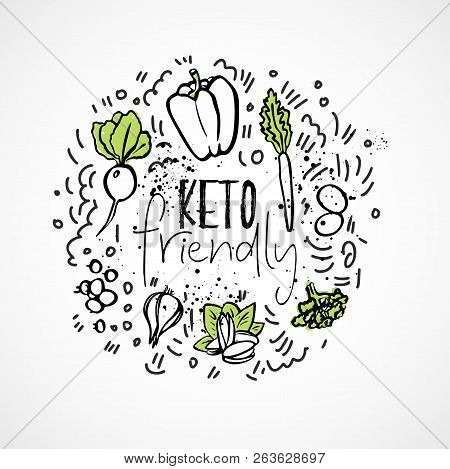Keto Friendly Food sketch illustration - two-colored vector sketch healthy concept. Healthy keto food with texture and decorative elements in a circle form - all nutrients, like fats, carbs and proteins and food icons, like vegetables, meat, fish, sea foo poster
