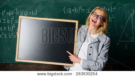 Teacher Smart Smiling Woman Hold Blackboard Blank Advertisement Copy Space. Remember This Informatio