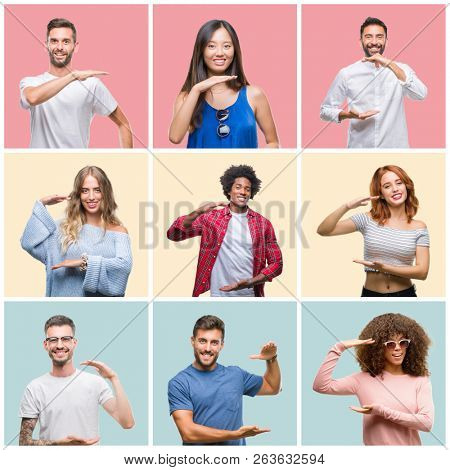 Collage of group of young people woman and men over colorful isolated background gesturing with hands showing big and large size sign, measure symbol. Smiling looking at the camera. Measuring concept.