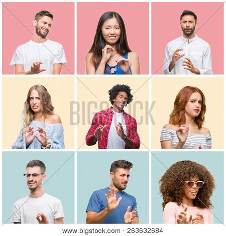 Collage of group of young people woman and men over colorful isolated background disgusted expression, displeased and fearful doing disgust face because aversion reaction. With hands raised. Annoying