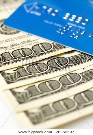 credit card and dollars