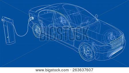 Electric Vehicle Charging Station Sketch. Vector Rendering Of 3d. Wire-frame Style. The Layers Of Vi
