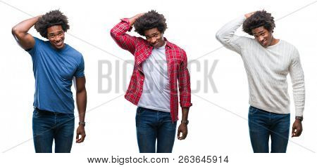 Collage of african american young handsome man over isolated background confuse and wonder about question. Uncertain with doubt, thinking with hand on head. Pensive concept.