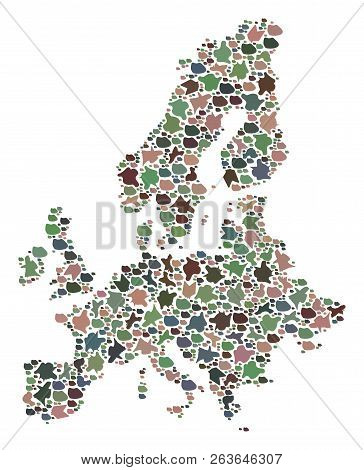 Mosaic Map Of Euro Union Created With Colored Flat Stones. Vector Motley Geographic Abstraction Of M