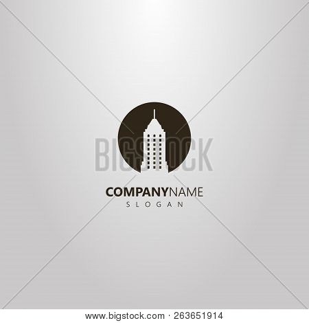Black And White Simple Vector Flat Art Negative Space Round Logo Of Skyscraper With A Spire