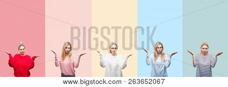 Collage of young beautiful blonde woman over vivid colorful vintage isolated background clueless and confused expression with arms and hands raised. Doubt concept.