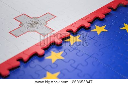 Flag Of The Malta And The European Union In The Form Of Puzzle Pieces In Concept Of Politics And Eco
