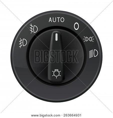 Headlights Selector. Car Element. Vector 3d Illustration Isolated On White Background
