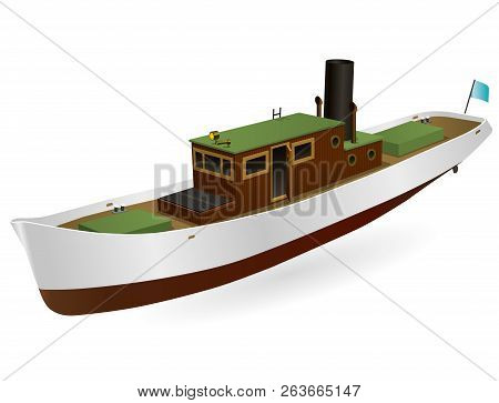 Small River Steamer With Large Chimney. Nice Motor Boat. Sea Steamship For Fishing And Leisure Time,