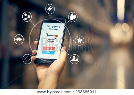 Infographics Of Online Shopping With Smartphone And Shopping Bags Delivery Service Using As Backgrou